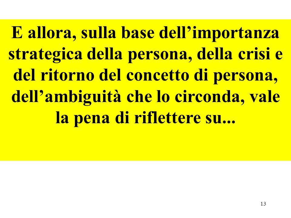 13 E allora, sulla base dellimportanza strategica della persona, della crisi e del ritorno del concetto di persona, dellambiguità che lo circonda, val