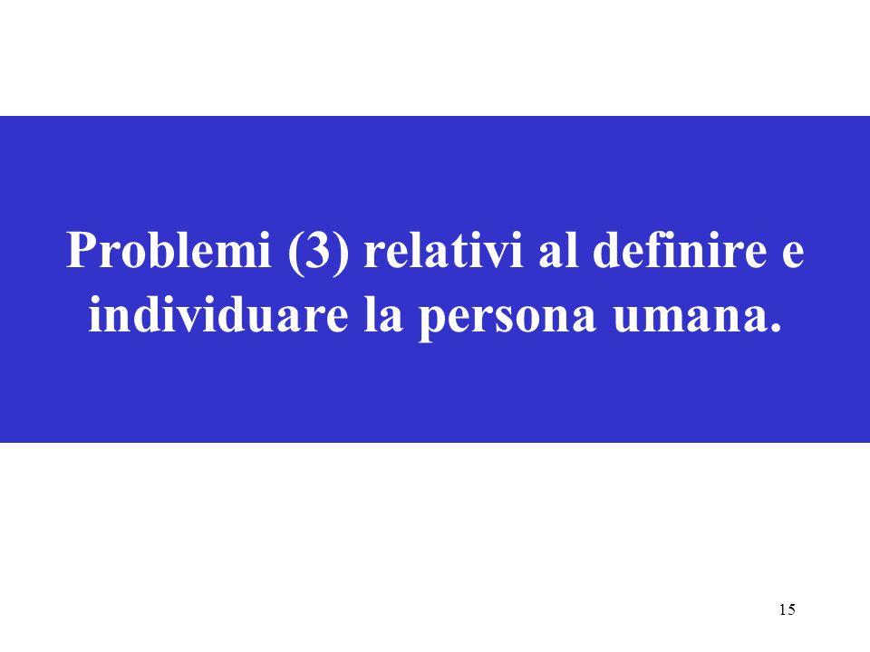 15 Problemi (3) relativi al definire e individuare la persona umana.