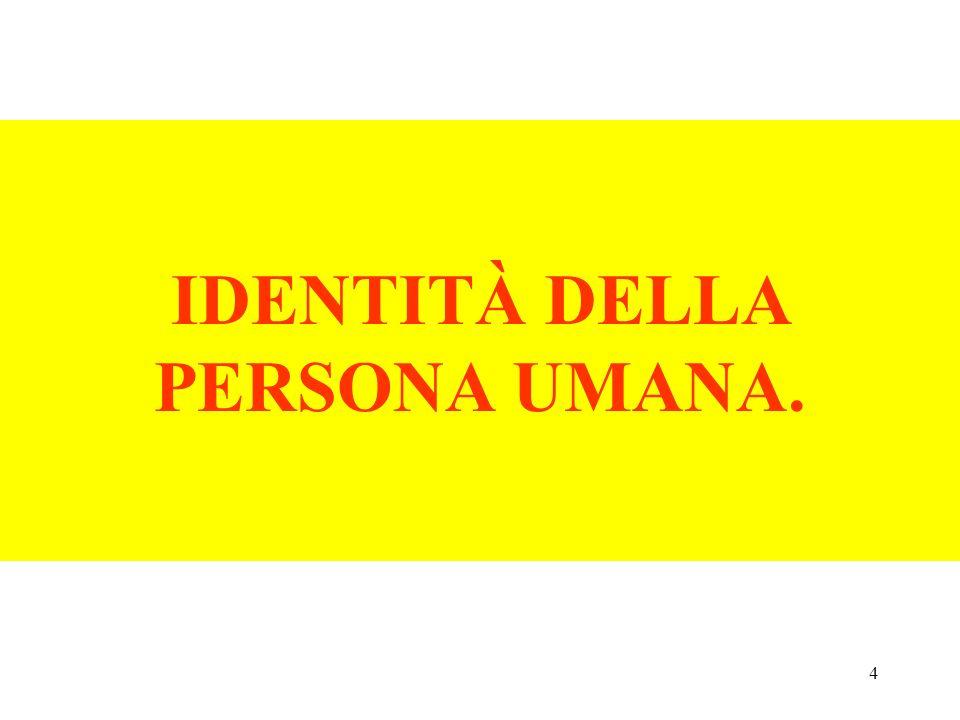 4 IDENTITÀ DELLA PERSONA UMANA.