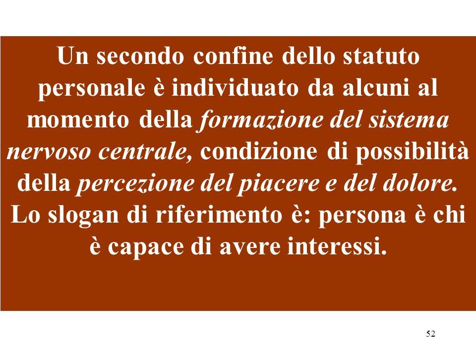 52 Un secondo confine dello statuto personale è individuato da alcuni al momento della formazione del sistema nervoso centrale, condizione di possibil