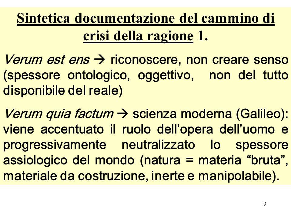 9 Sintetica documentazione del cammino di crisi della ragione 1. Verum est ens riconoscere, non creare senso (spessore ontologico, oggettivo, non del