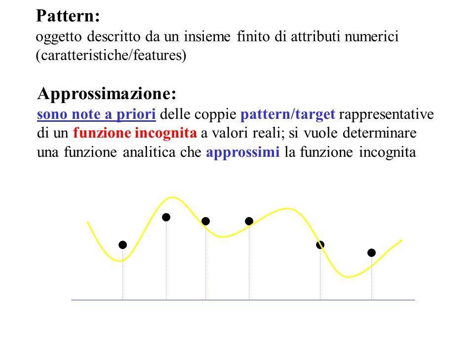 Approssimazione: sono note a priori delle coppie pattern/target rappresentative di un funzione incognita a valori reali; si vuole determinare una funz
