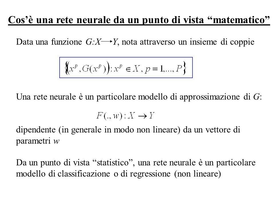 Data una funzione G:X Y, nota attraverso un insieme di coppie Una rete neurale è un particolare modello di approssimazione di G: dipendente (in genera