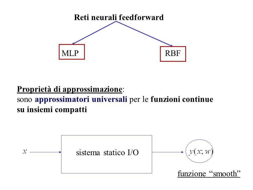 Proprietà di approssimazione: sono approssimatori universali per le funzioni continue su insiemi compatti Reti neurali feedforward MLPRBF sistema stat