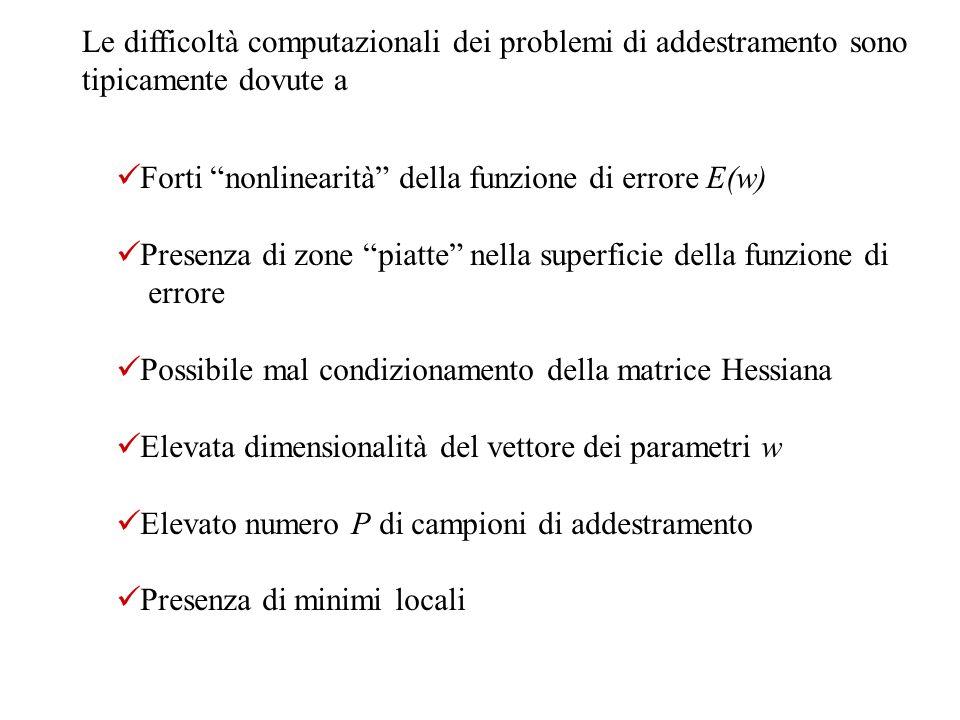 Le difficoltà computazionali dei problemi di addestramento sono tipicamente dovute a Forti nonlinearità della funzione di errore E(w) Presenza di zone