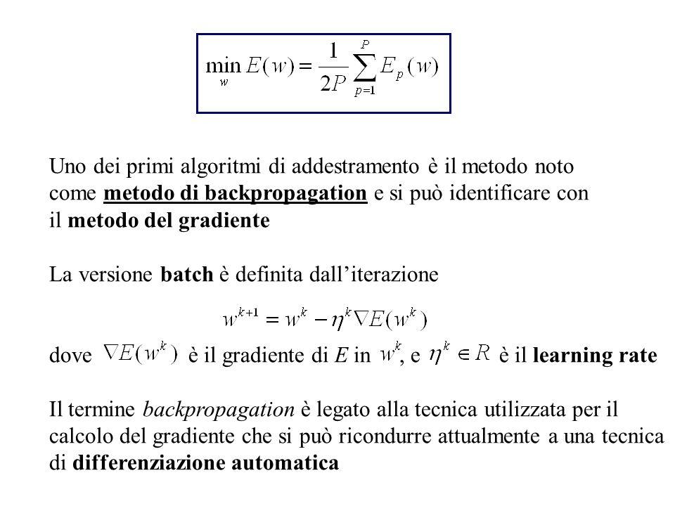 Uno dei primi algoritmi di addestramento è il metodo noto come metodo di backpropagation e si può identificare con il metodo del gradiente La versione