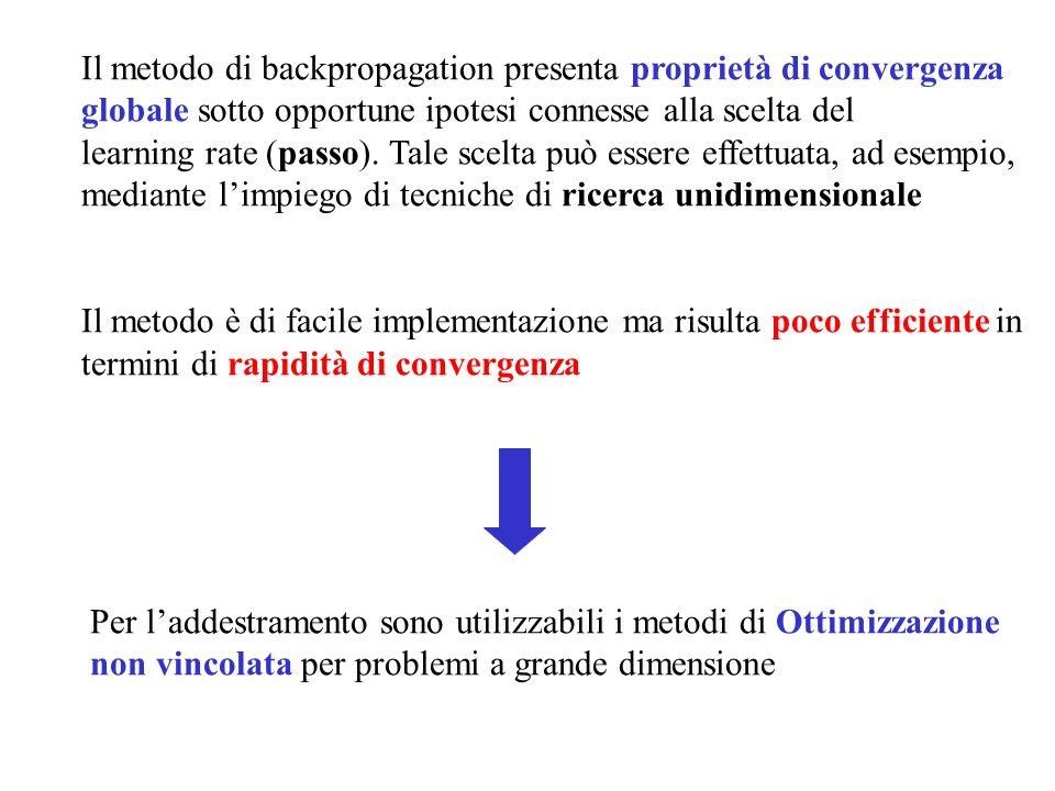 Il metodo di backpropagation presenta proprietà di convergenza globale sotto opportune ipotesi connesse alla scelta del learning rate (passo). Tale sc