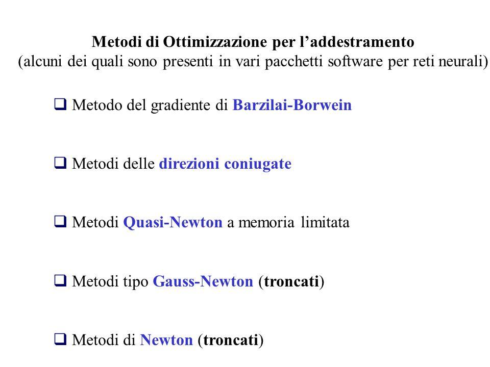 Metodi di Ottimizzazione per laddestramento (alcuni dei quali sono presenti in vari pacchetti software per reti neurali) Metodo del gradiente di Barzi