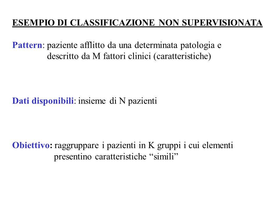 ESEMPIO DI CLASSIFICAZIONE NON SUPERVISIONATA Pattern: paziente afflitto da una determinata patologia e descritto da M fattori clinici (caratteristich