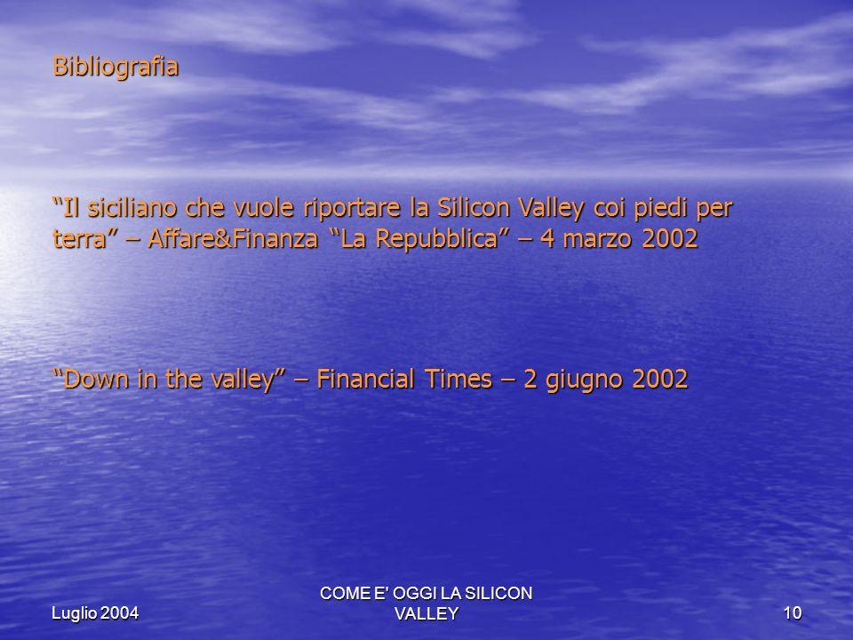 Luglio 2004 COME E' OGGI LA SILICON VALLEY10 Bibliografia Il siciliano che vuole riportare la Silicon Valley coi piedi per terra – Affare&FinanzaLa Re