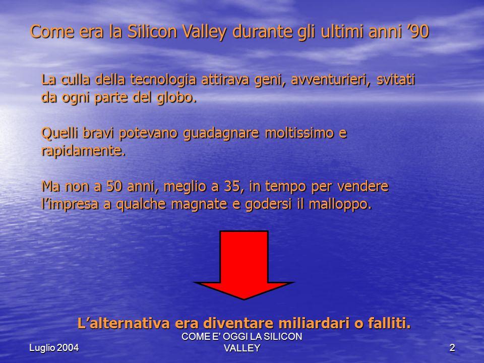 COME E' OGGI LA SILICON VALLEY2 Come era la Silicon Valley durante gli ultimi anni 90 La culla della tecnologia attirava geni, avventurieri, svitati d