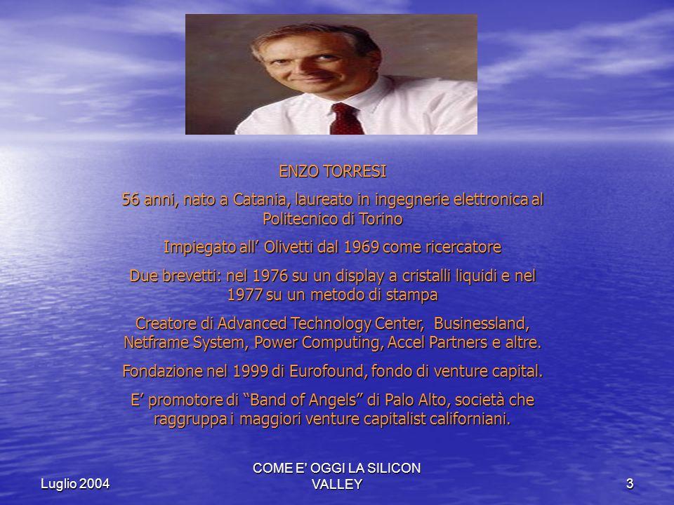 Luglio 2004 COME E' OGGI LA SILICON VALLEY3 ENZO TORRESI 56 anni, nato a Catania, laureato in ingegnerie elettronica al Politecnico di Torino Impiegat