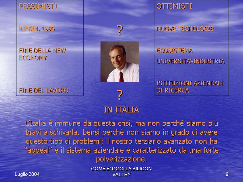 Luglio 2004 COME E' OGGI LA SILICON VALLEY9 PESSIMISTI RIFKIN, 1995 FINE DELLA NEW ECONOMY FINE DEL LAVORO OTTIMISTI NUOVE TECNOLOGIE ECOSISTEMAUNIVER