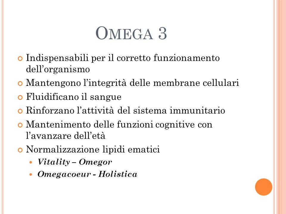 O MEGA 3 Indispensabili per il corretto funzionamento dellorganismo Mantengono lintegrità delle membrane cellulari Fluidificano il sangue Rinforzano l