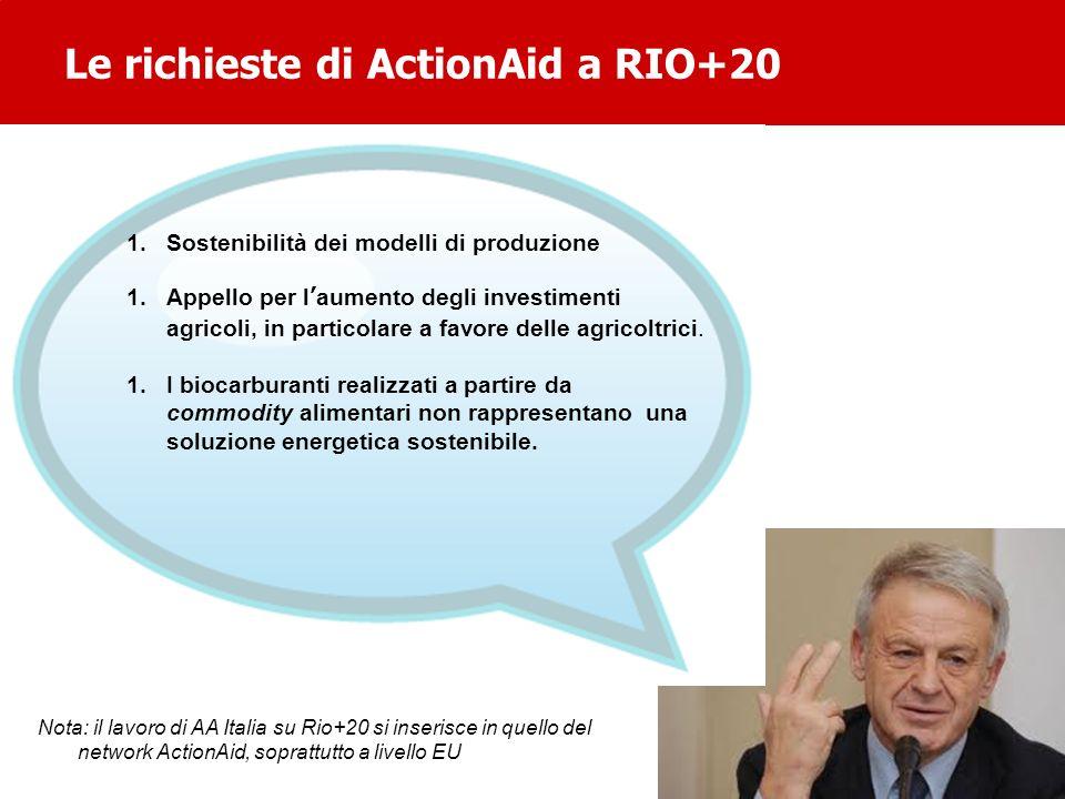 Le richieste di ActionAid a RIO+20 1.Sostenibilità dei modelli di produzione 1.Appello per laumento degli investimenti agricoli, in particolare a favo