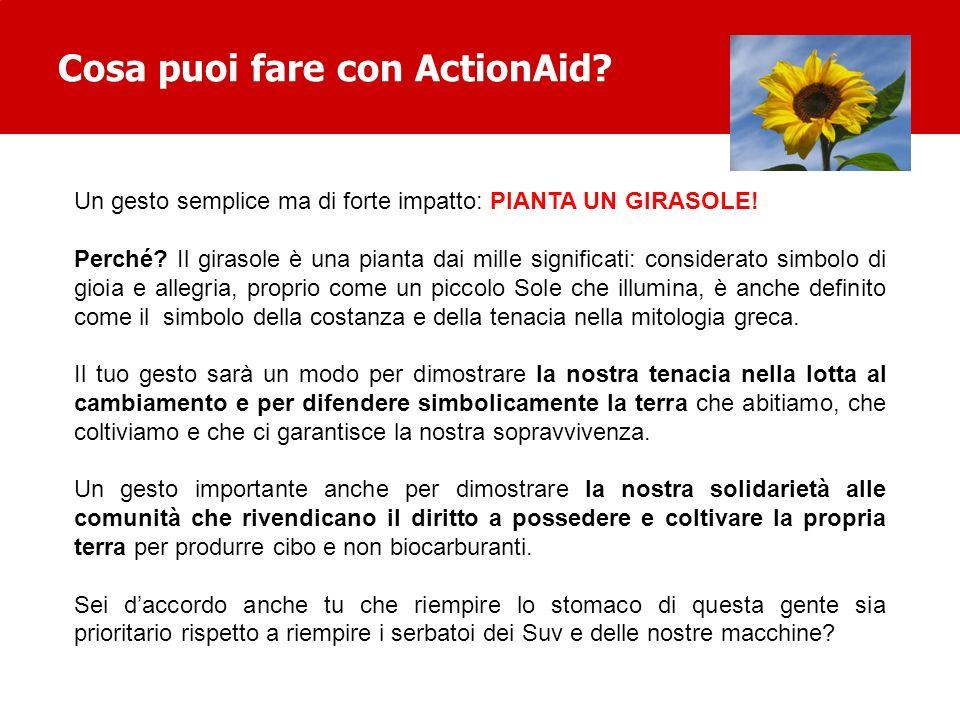 Cosa puoi fare con ActionAid? Un gesto semplice ma di forte impatto: PIANTA UN GIRASOLE! Perché? Il girasole è una pianta dai mille significati: consi