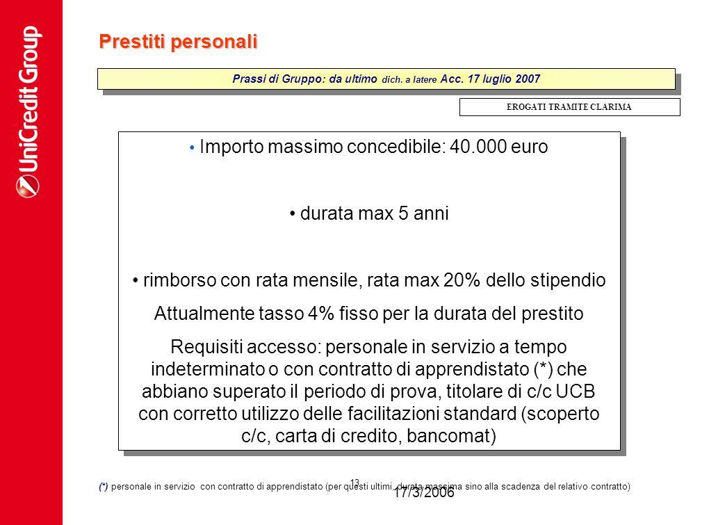 17/3/2006 13 Prestiti personali Importo massimo concedibile: 40.000 euro durata max 5 anni rimborso con rata mensile, rata max 20% dello stipendio Att