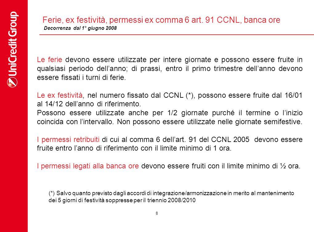 8 Ferie, ex festività, permessi ex comma 6 art. 91 CCNL, banca ore Le ferie devono essere utilizzate per intere giornate e possono essere fruite in qu