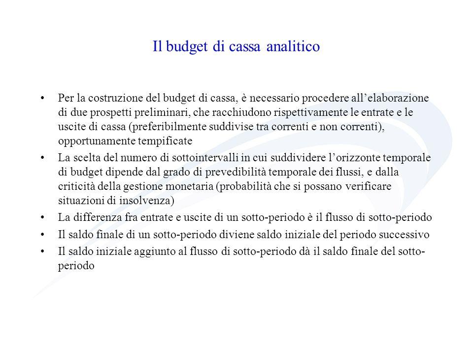 Il budget di cassa analitico Per la costruzione del budget di cassa, è necessario procedere allelaborazione di due prospetti preliminari, che racchiud