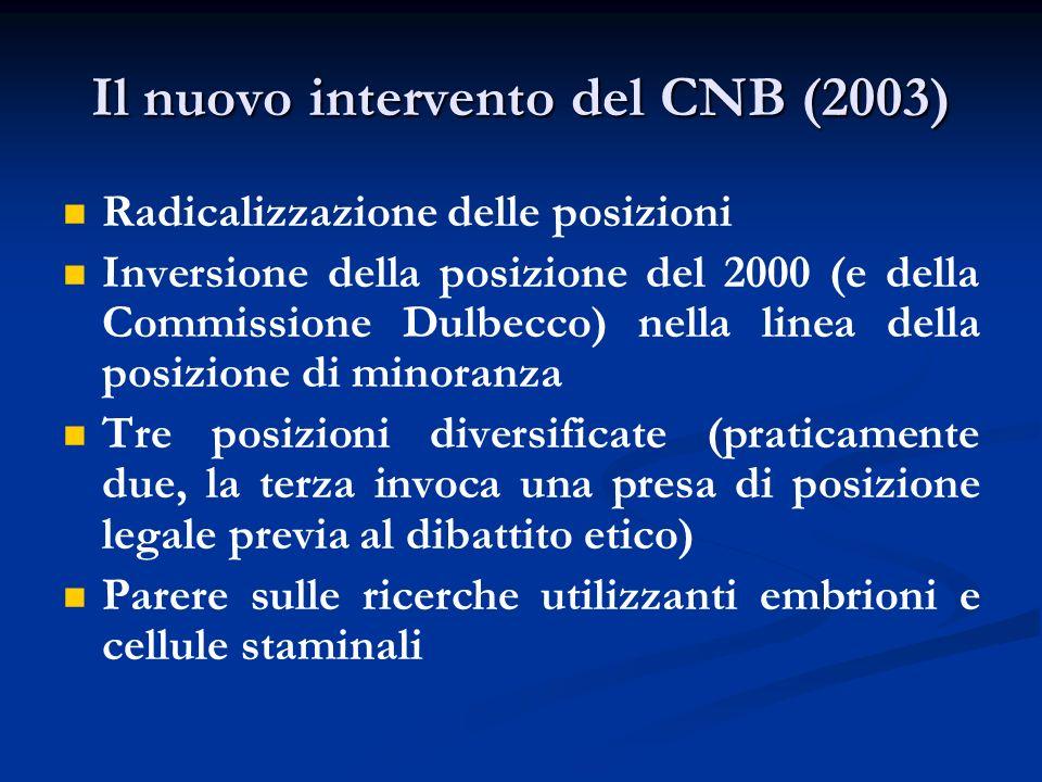 Il nuovo intervento del CNB (2003) Radicalizzazione delle posizioni Inversione della posizione del 2000 (e della Commissione Dulbecco) nella linea del