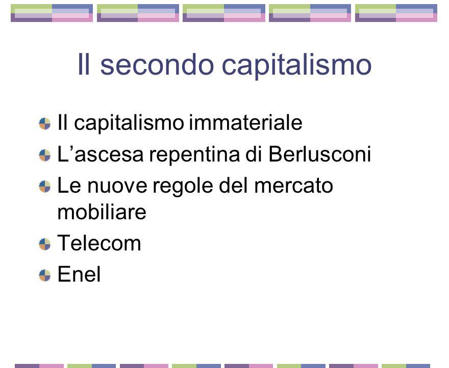 Il primo capitalismo Le ceneri del vecchio sistema di potere La fine dello stato imprenditore Le famiglie scomparse Mediobanca cambia pelle La Fiat La