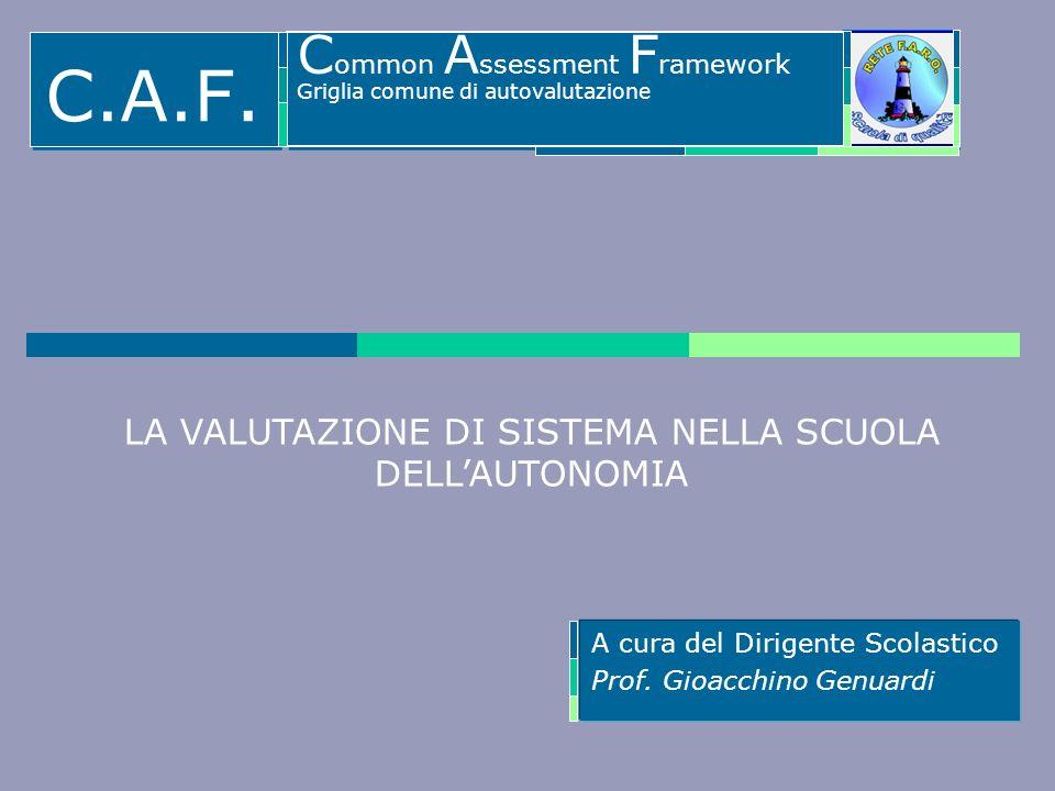 A cura del Dirigente Scolastico Prof. Gioacchino Genuardi LA VALUTAZIONE DI SISTEMA NELLA SCUOLA DELLAUTONOMIA C.A.F. C ommon A ssessment F ramework G