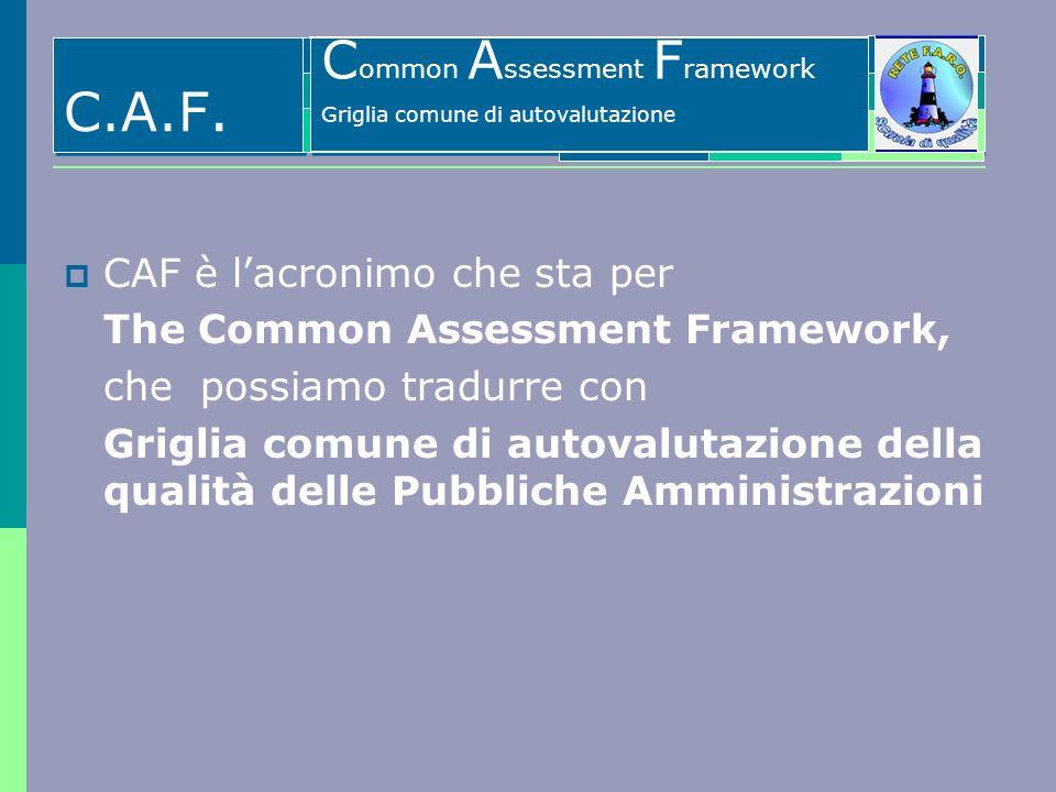 Il Common Assessment Framework - CAF CAF è lacronimo che sta per The Common Assessment Framework, che possiamo tradurre con Griglia comune di autovalu