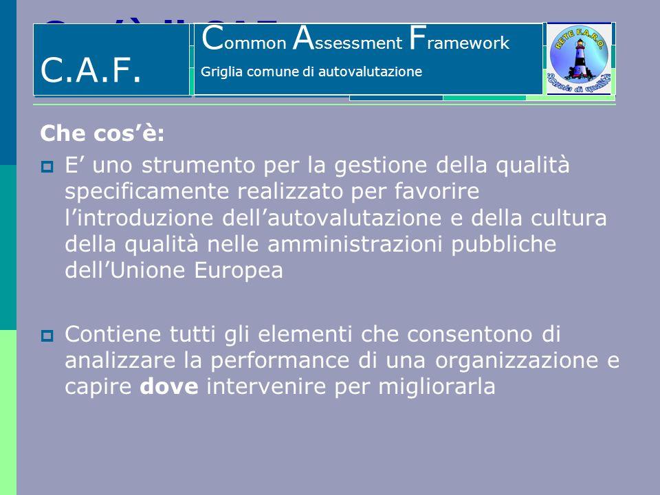 Cosè il CAF Che cosè: E uno strumento per la gestione della qualità specificamente realizzato per favorire lintroduzione dellautovalutazione e della c