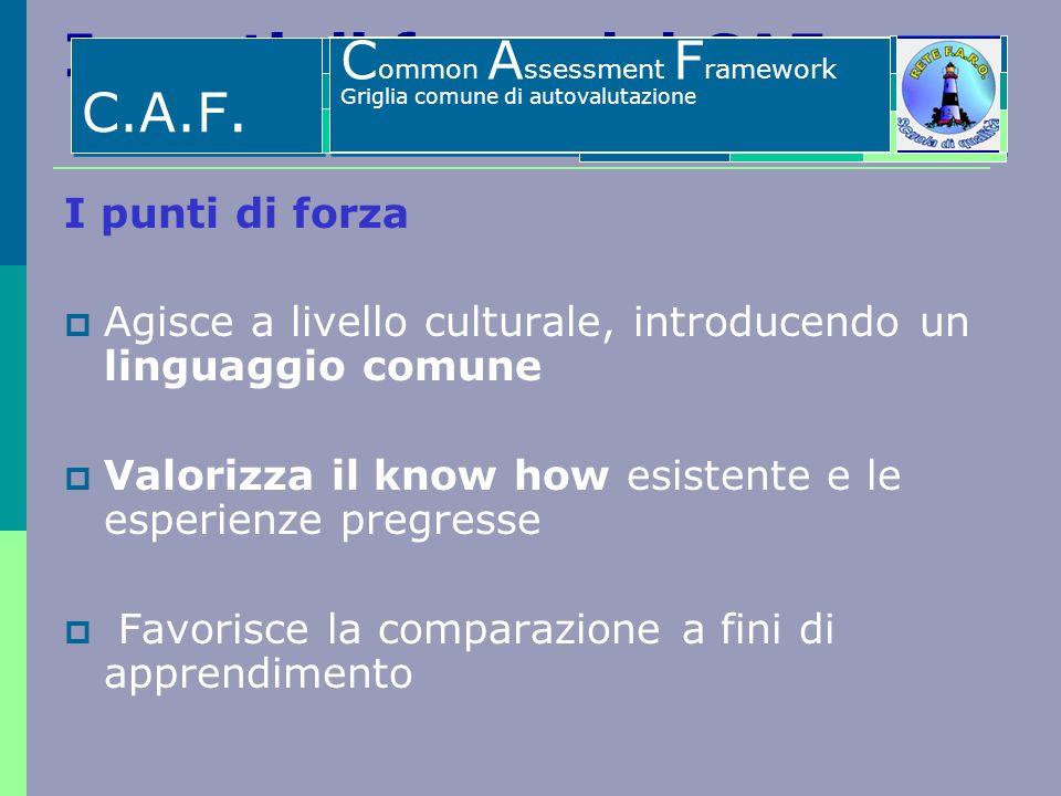I punti di forza del CAF I punti di forza Agisce a livello culturale, introducendo un linguaggio comune Valorizza il know how esistente e le esperienz