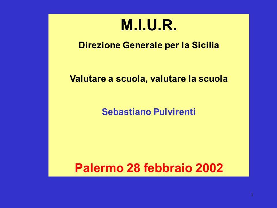 1 M.I.U.R. Direzione Generale per la Sicilia Valutare a scuola, valutare la scuola Sebastiano Pulvirenti Palermo 28 febbraio 2002