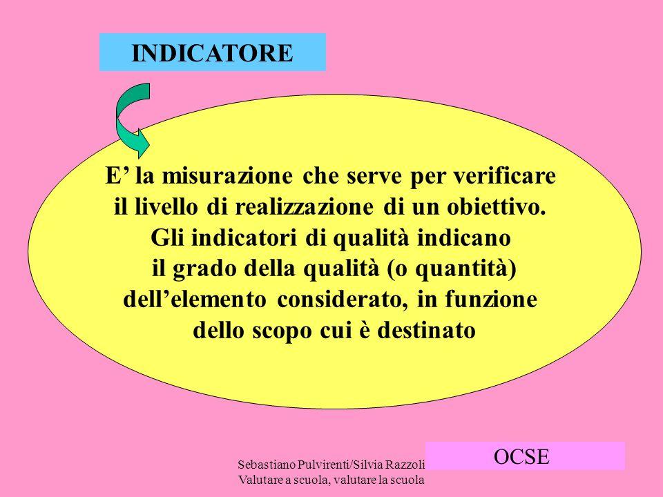 Sebastiano Pulvirenti/Silvia Razzoli Valutare a scuola, valutare la scuola 17 INDICATORE E la misurazione che serve per verificare il livello di realizzazione di un obiettivo.