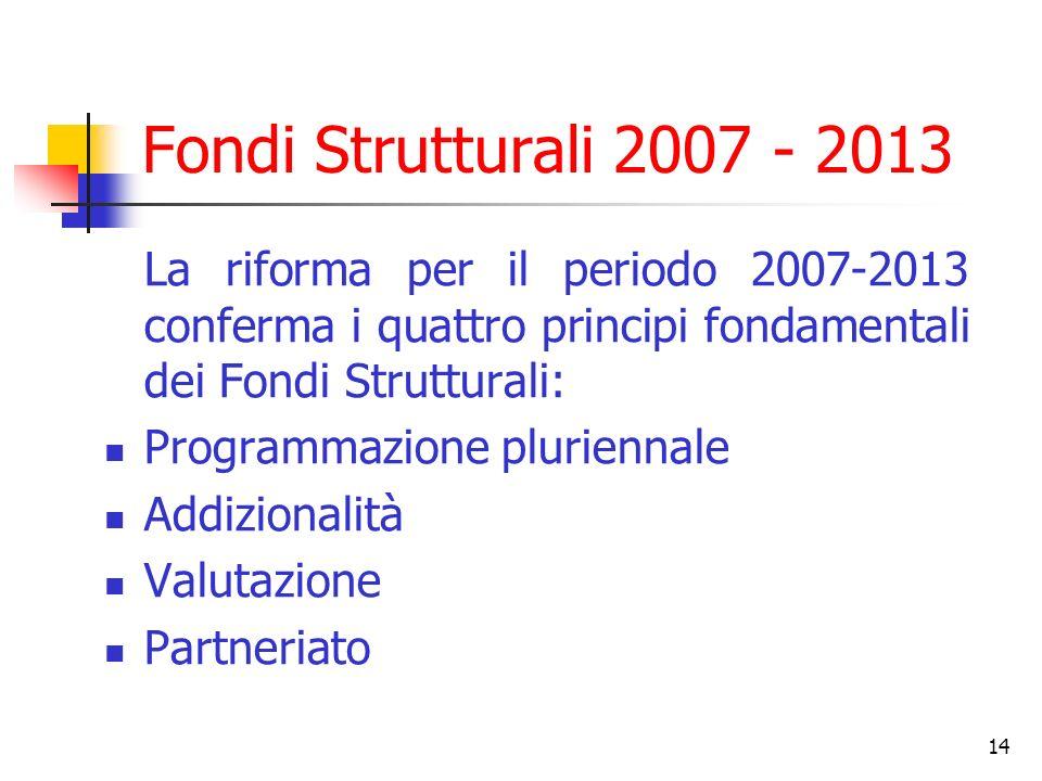 14 Fondi Strutturali 2007 - 2013 La riforma per il periodo 2007-2013 conferma i quattro principi fondamentali dei Fondi Strutturali: Programmazione pl