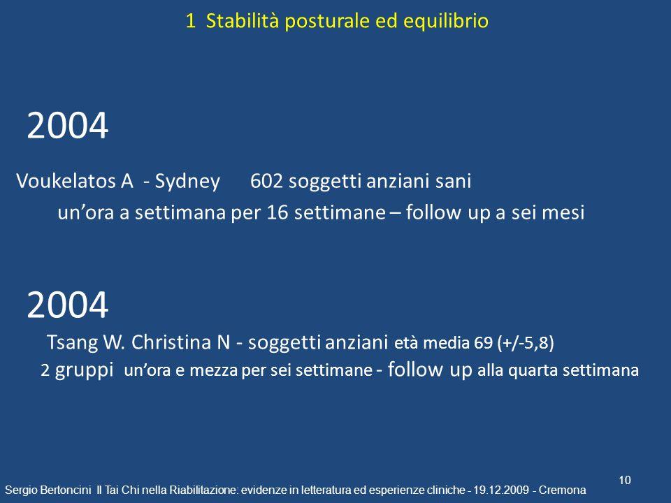 10 Sergio Bertoncini Il Tai Chi nella Riabilitazione: evidenze in letteratura ed esperienze cliniche - 19.12.2009 - Cremona 1 Stabilità posturale ed e