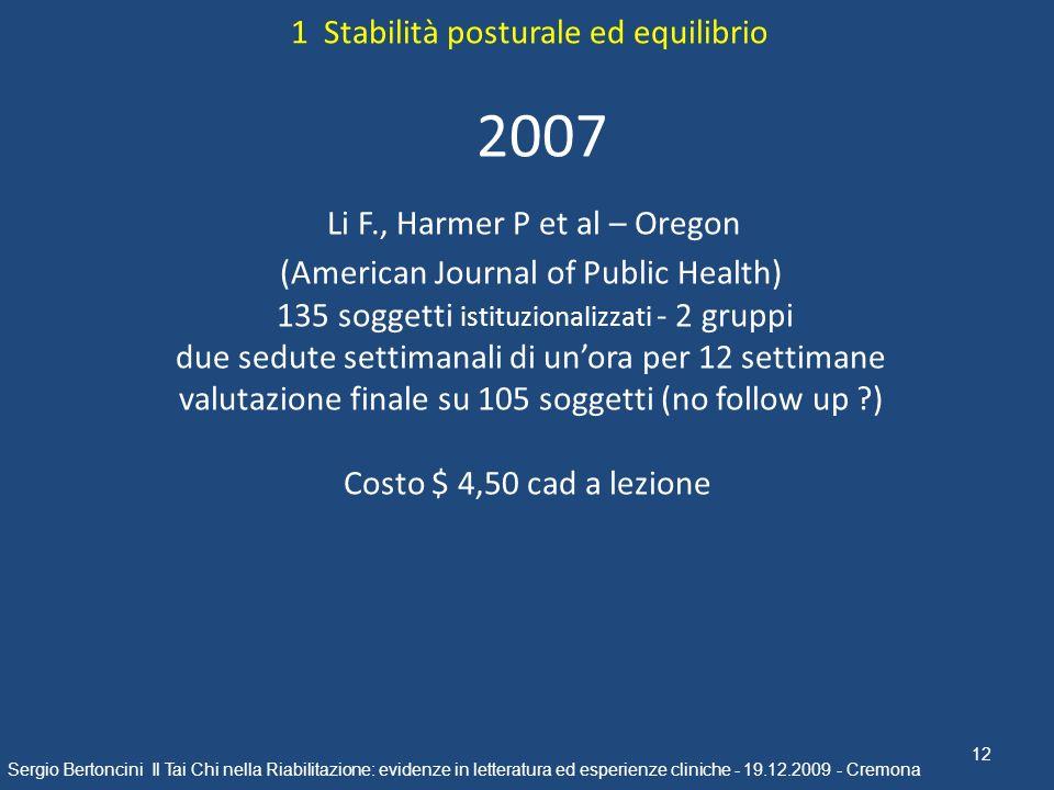 12 Sergio Bertoncini Il Tai Chi nella Riabilitazione: evidenze in letteratura ed esperienze cliniche - 19.12.2009 - Cremona 2007 Li F., Harmer P et al
