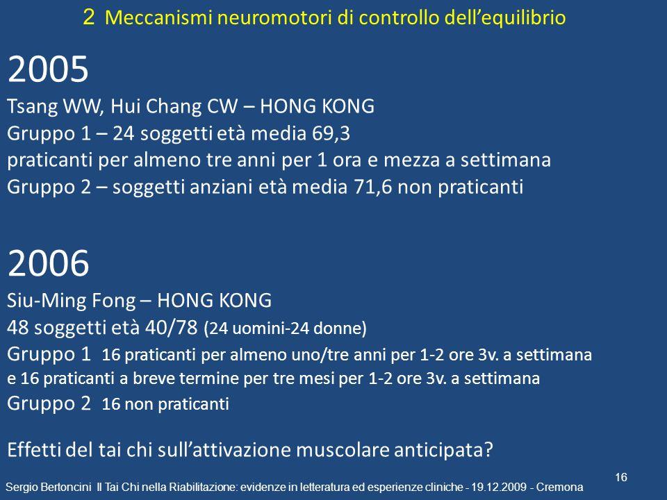 16 Sergio Bertoncini Il Tai Chi nella Riabilitazione: evidenze in letteratura ed esperienze cliniche - 19.12.2009 - Cremona 2 Meccanismi neuromotori d