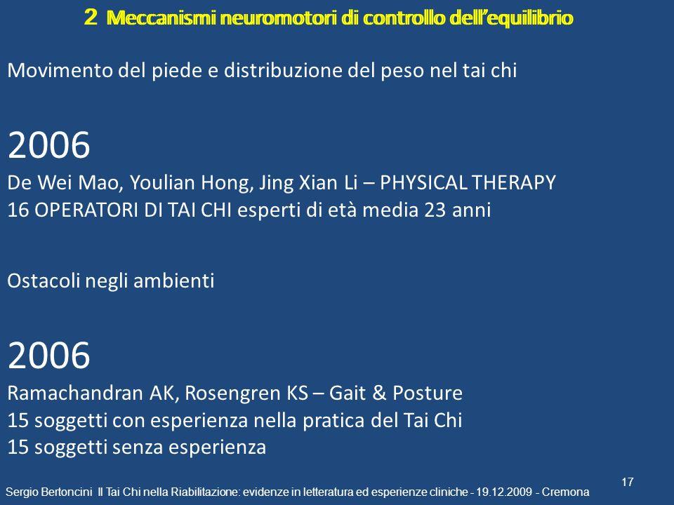 17 Sergio Bertoncini Il Tai Chi nella Riabilitazione: evidenze in letteratura ed esperienze cliniche - 19.12.2009 - Cremona 2 Meccanismi neuromotori d