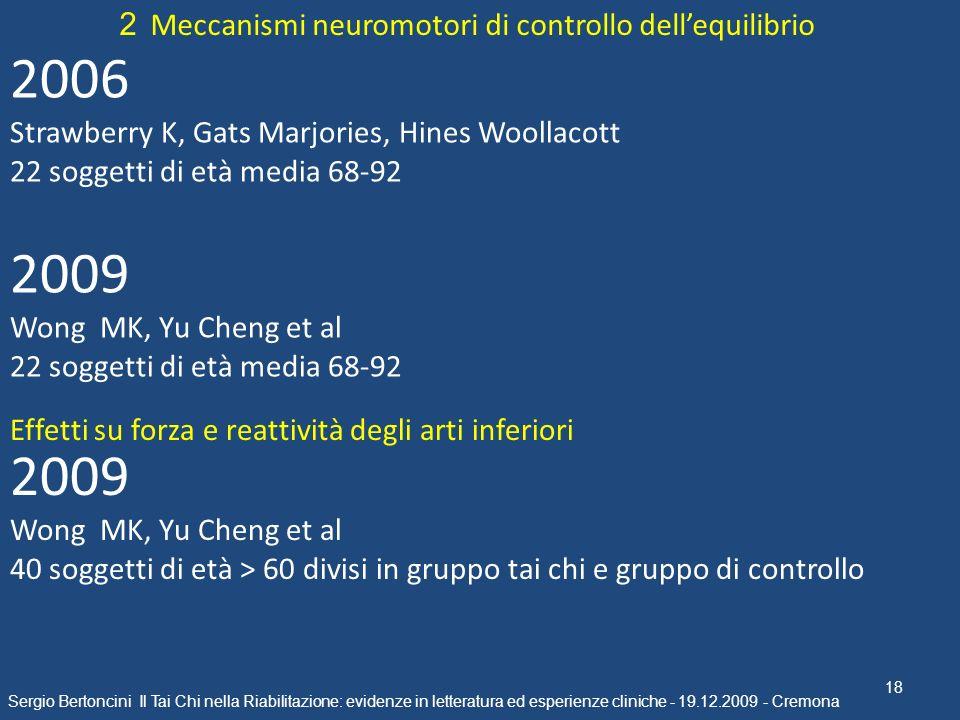 18 Sergio Bertoncini Il Tai Chi nella Riabilitazione: evidenze in letteratura ed esperienze cliniche - 19.12.2009 - Cremona 2 Meccanismi neuromotori d