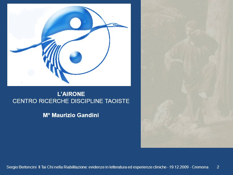 LAIRONE CENTRO RICERCHE DISCIPLINE TAOISTE M° Maurizio Gandini Sergio Bertoncini Il Tai Chi nella Riabilitazione: evidenze in letteratura ed esperienz