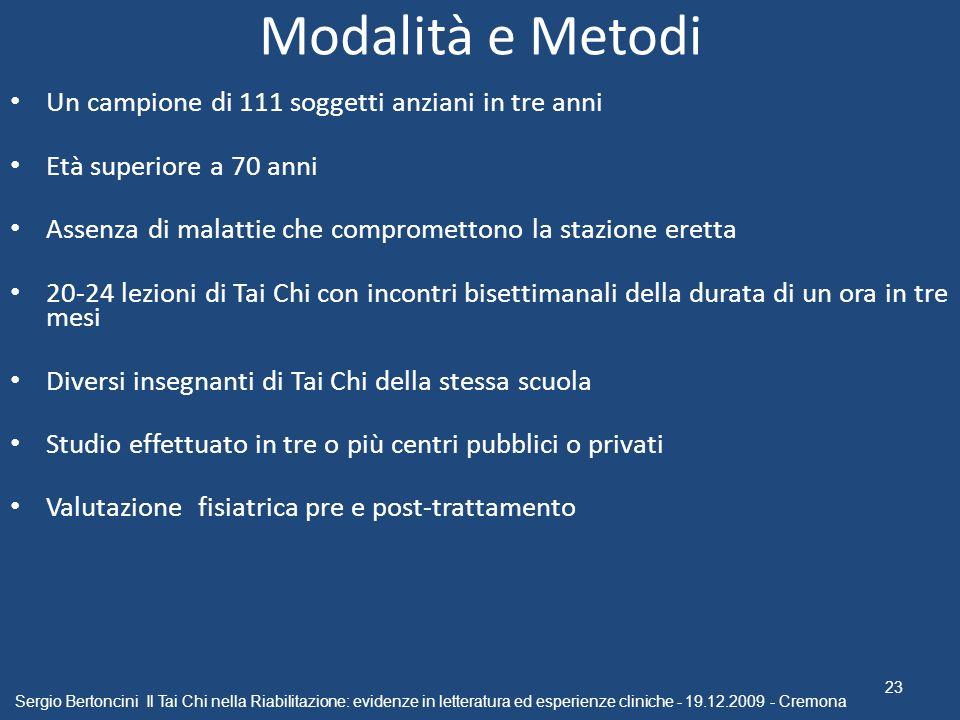 Modalità e Metodi Un campione di 111 soggetti anziani in tre anni Età superiore a 70 anni Assenza di malattie che compromettono la stazione eretta 20-
