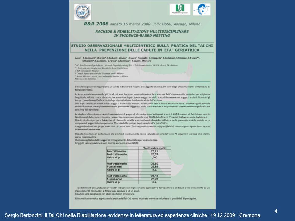 Sergio Bertoncini Il Tai Chi nella Riabilitazione: evidenze in letteratura ed esperienze cliniche - 19.12.2009 - Cremona 4