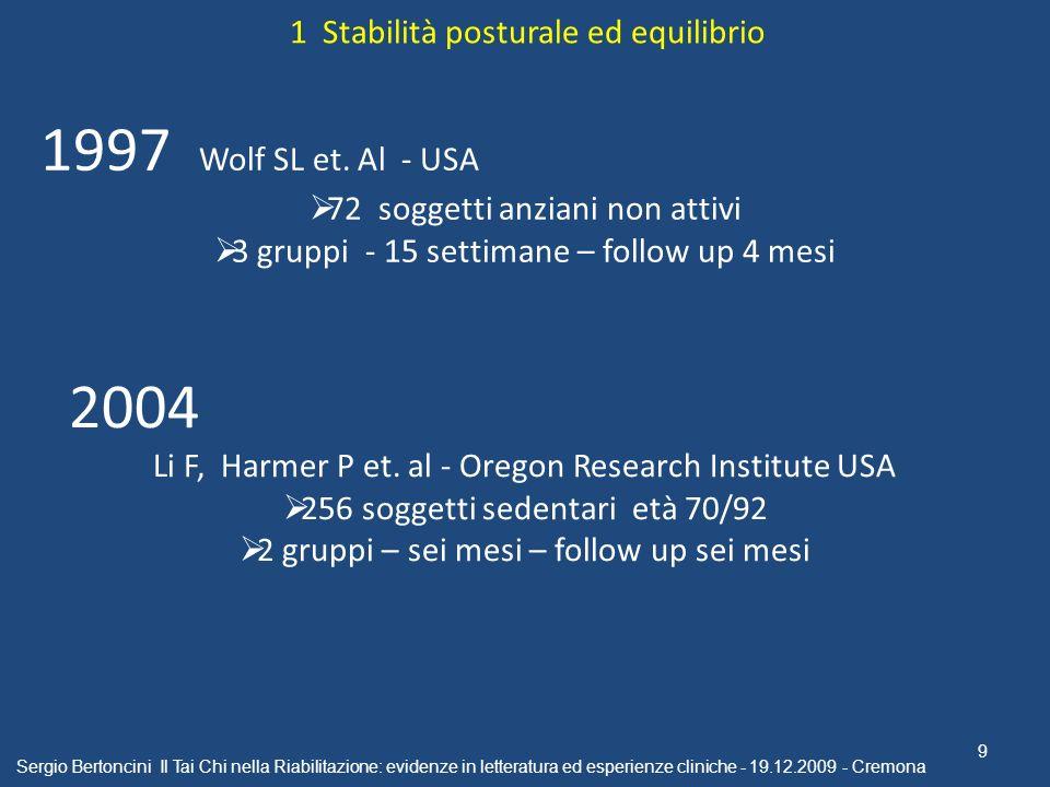 Sergio Bertoncini Il Tai Chi nella Riabilitazione: evidenze in letteratura ed esperienze cliniche - 19.12.2009 - Cremona 9 1997 Wolf SL et. Al - USA 7