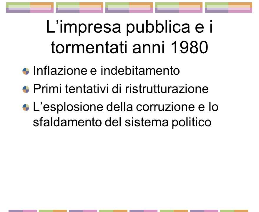Limpresa pubblica e i tormentati anni 1980 Inflazione e indebitamento Primi tentativi di ristrutturazione Lesplosione della corruzione e lo sfaldamento del sistema politico