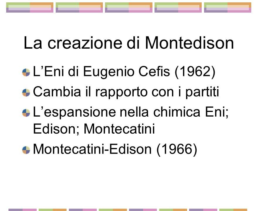 La creazione di Montedison LEni di Eugenio Cefis (1962) Cambia il rapporto con i partiti Lespansione nella chimica Eni; Edison; Montecatini Montecatini-Edison (1966)