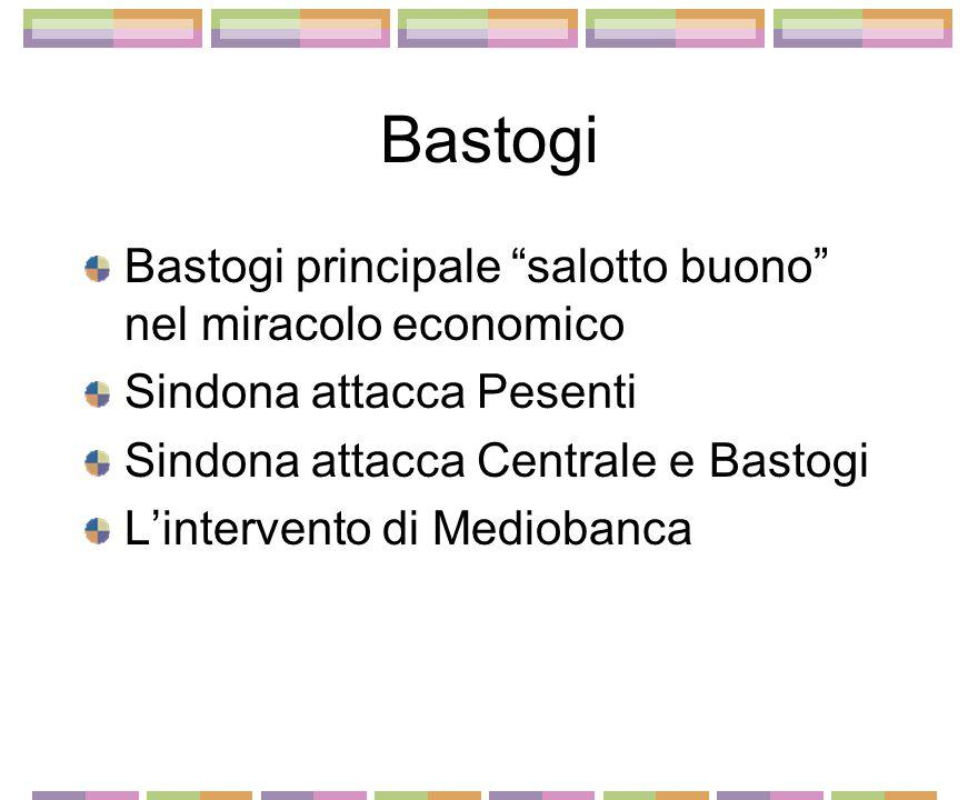 Bastogi Bastogi principale salotto buono nel miracolo economico Sindona attacca Pesenti Sindona attacca Centrale e Bastogi Lintervento di Mediobanca