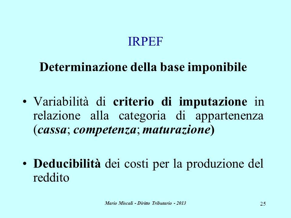 Mario Miscali - Diritto Tributario - 2013 25 Determinazione della base imponibile Variabilità di criterio di imputazione in relazione alla categoria d