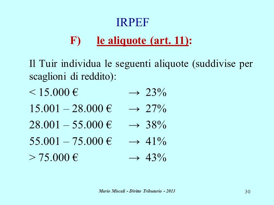 Mario Miscali - Diritto Tributario - 2013 30 Il Tuir individua le seguenti aliquote (suddivise per scaglioni di reddito): < 15.000 23% 15.001 – 28.000
