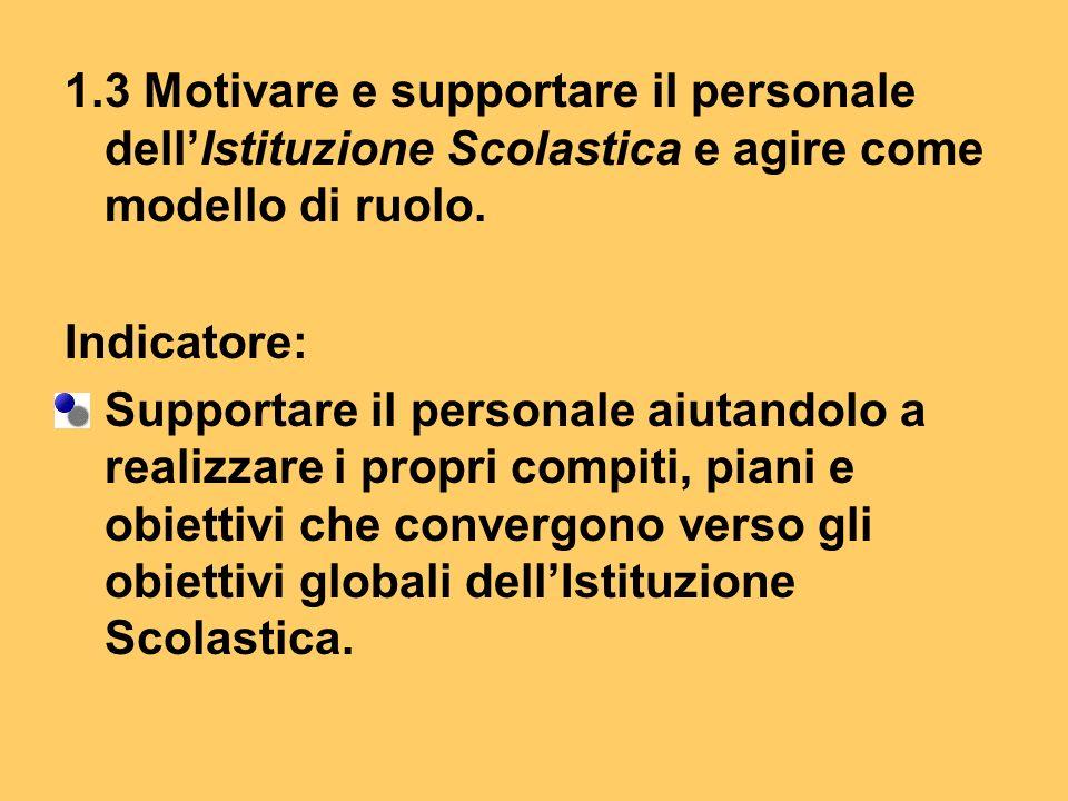 1.3 Motivare e supportare il personale dellIstituzione Scolastica e agire come modello di ruolo.
