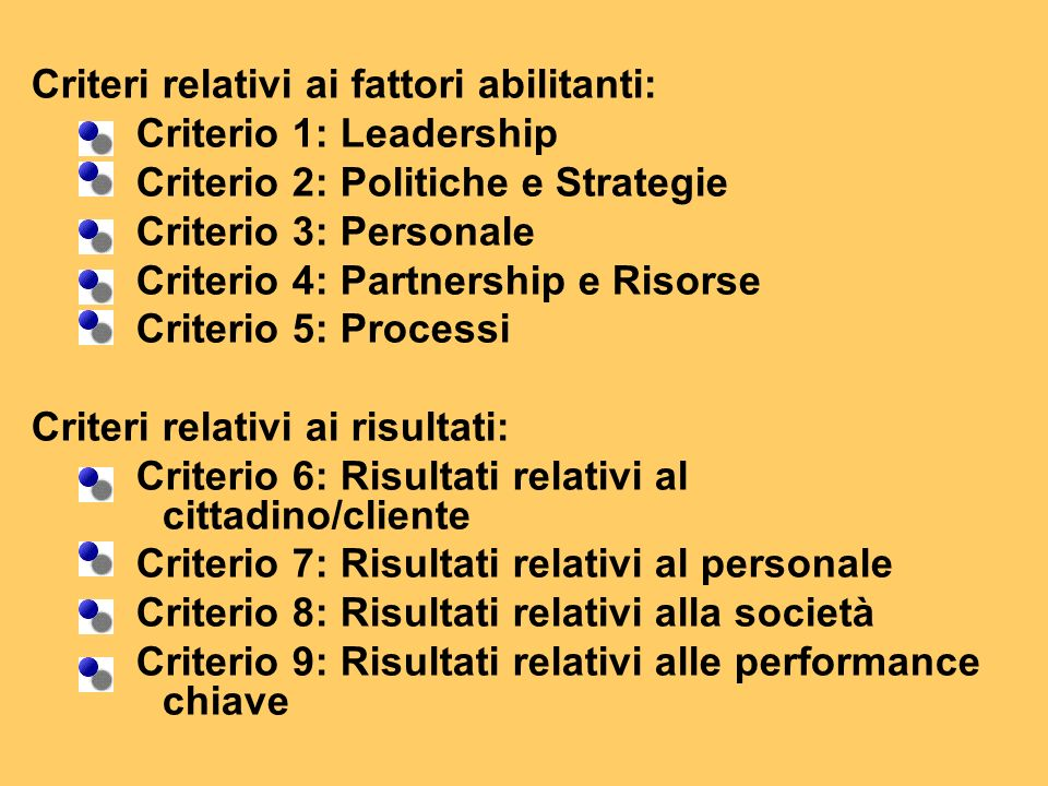 Criteri relativi ai fattori abilitanti: Criterio 1: Leadership Criterio 2: Politiche e Strategie Criterio 3: Personale Criterio 4: Partnership e Risorse Criterio 5: Processi Criteri relativi ai risultati: Criterio 6: Risultati relativi al cittadino/cliente Criterio 7: Risultati relativi al personale Criterio 8: Risultati relativi alla società Criterio 9: Risultati relativi alle performance chiave