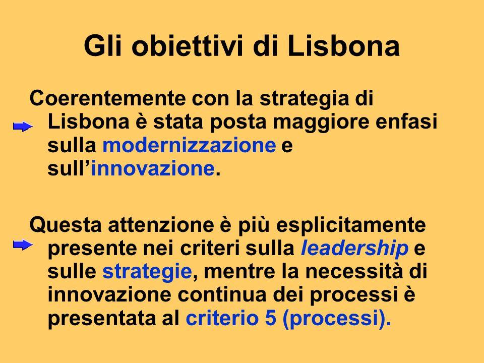 Gli obiettivi di Lisbona Coerentemente con la strategia di Lisbona è stata posta maggiore enfasi sulla modernizzazione e sullinnovazione.