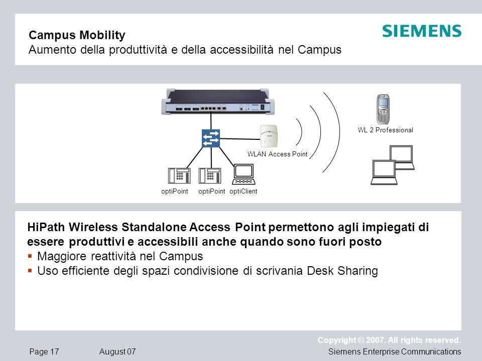 Page 17 August 07 Copyright © 2007. All rights reserved. Siemens Enterprise Communications Campus Mobility Aumento della produttività e della accessib